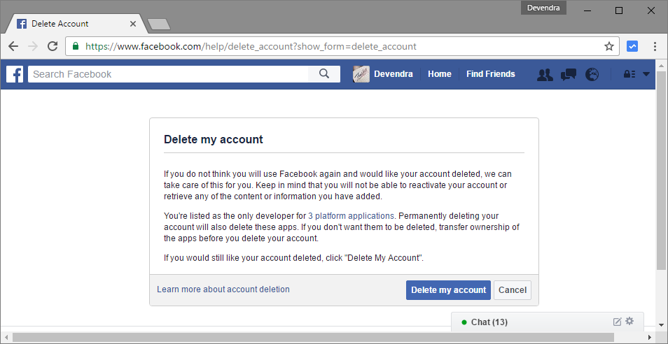 delete account, social, email, direct link