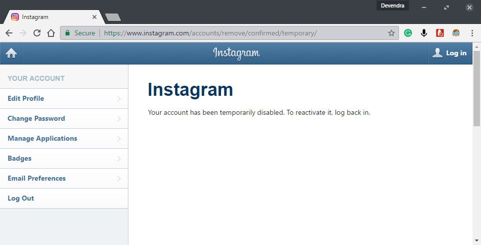 how to disable instagram account