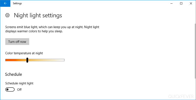 Fix night light mode in Windows 10